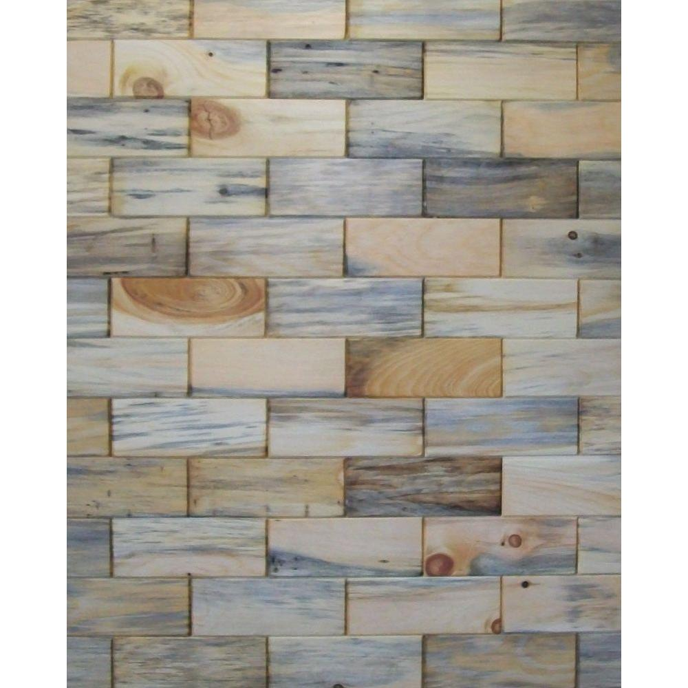 Rustix Woodbrix 3 in. x 8 in. Prefinished Antique Blend North Eastern White Pine Wooden Wall Tile