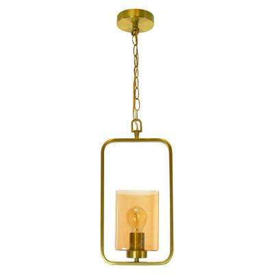 Venice 1-Light Satin Gold Steel Shade With Amber Glass Pendant