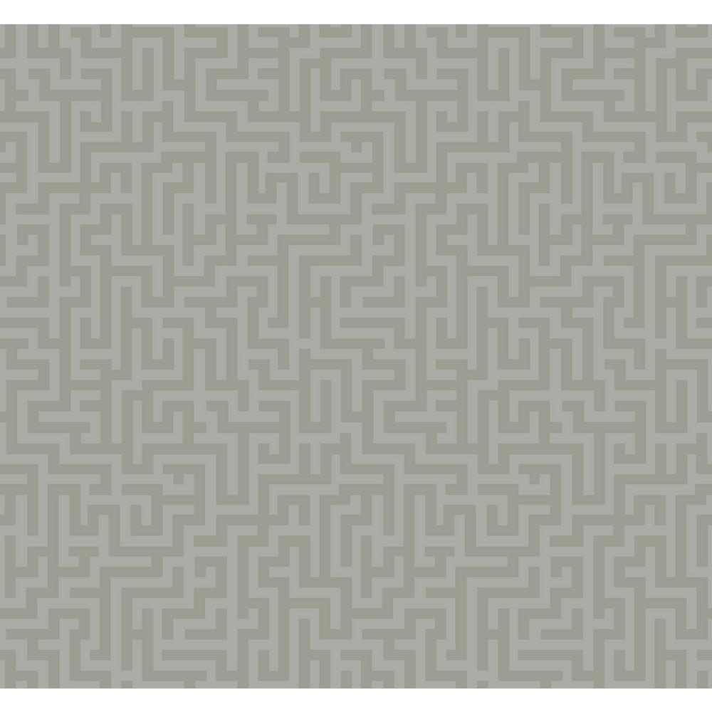 . Maze Metallic Silver and Gray Contemporary Wallpaper