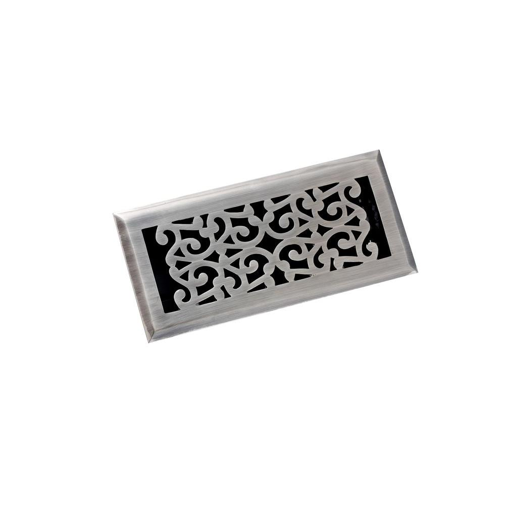 4 in. x 10 in. Scroll Floor Register, Antique Pewter