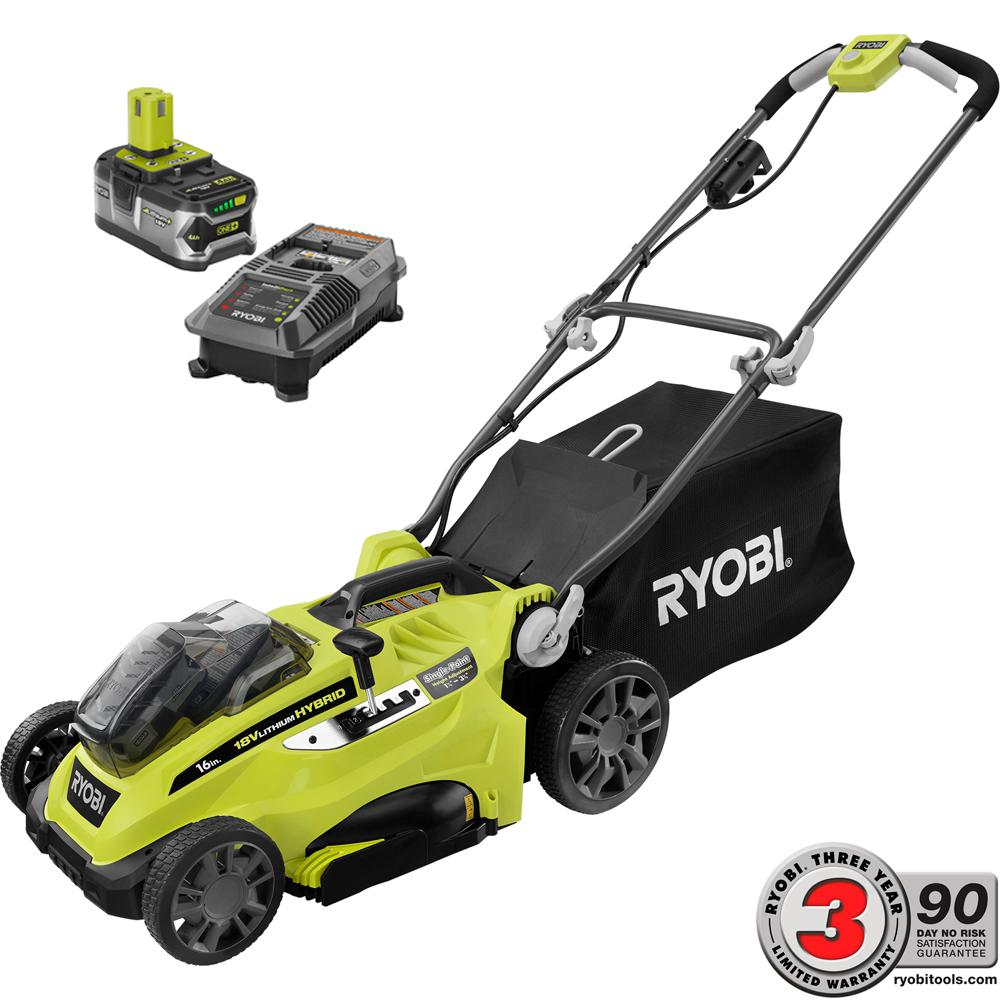 RYOBI 16 in. ONE+ 18-Volt Lithium-Ion Hybrid Battery Walk Behind Push Lawn Mower - 4.0 Ah Battery/Charger Included
