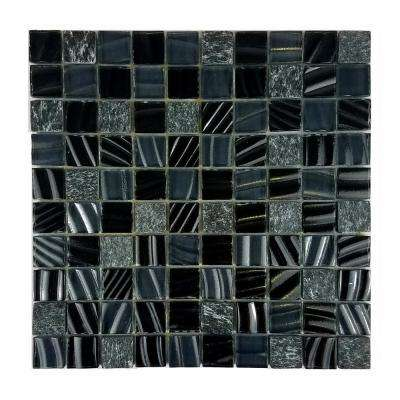 New Era II Black Hole Square Mosaic 1 in. x 1 in. Glass and Stone Mesh Mounted Wall Pool and Floor Tile (1.09 Sq. ft.)
