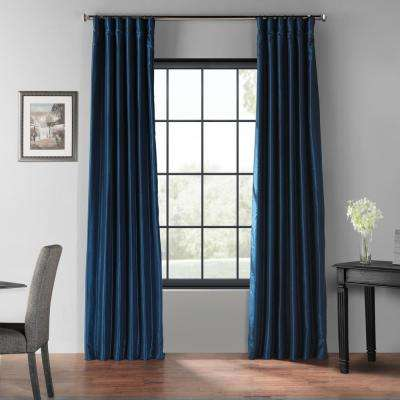 Captain's Blue Blackout Vintage Textured Faux Dupioni Silk Curtain - 50 in. W x 120 in. L