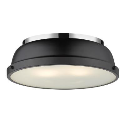 Duncan 2-Light Chrome Flush Mount with Matte Black Shade