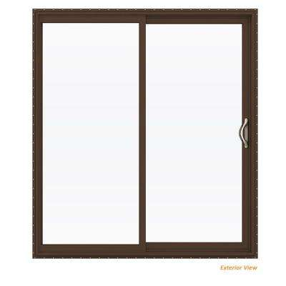 72 in. x 80 in. V-2500 Brown Painted Vinyl Right-Hand Full Lite Sliding Patio Door w/White Interior