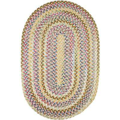 Bouquet Champagne 2 ft. x 4 ft. Oval Indoor/Outdoor Braided Area Rug