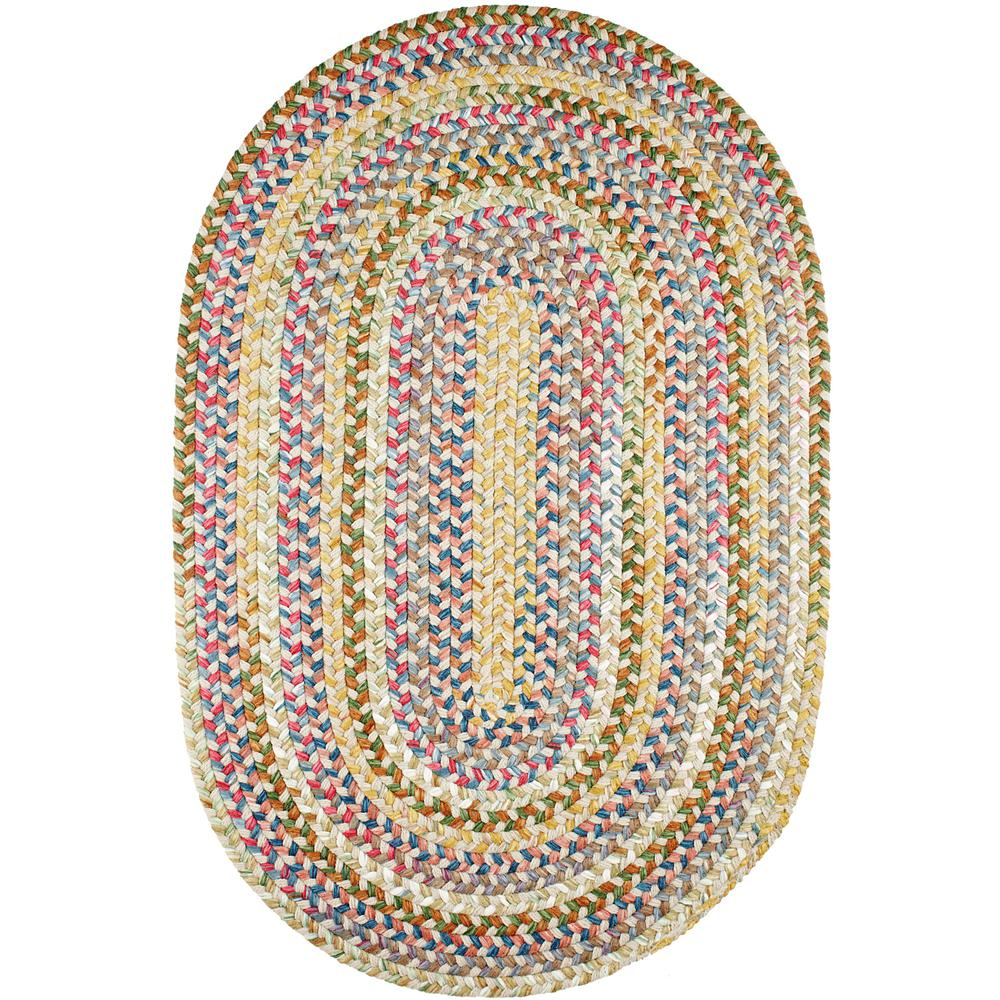 Rhody Rug Bouquet Champagne 8 ft x 11 ft Oval Indoor