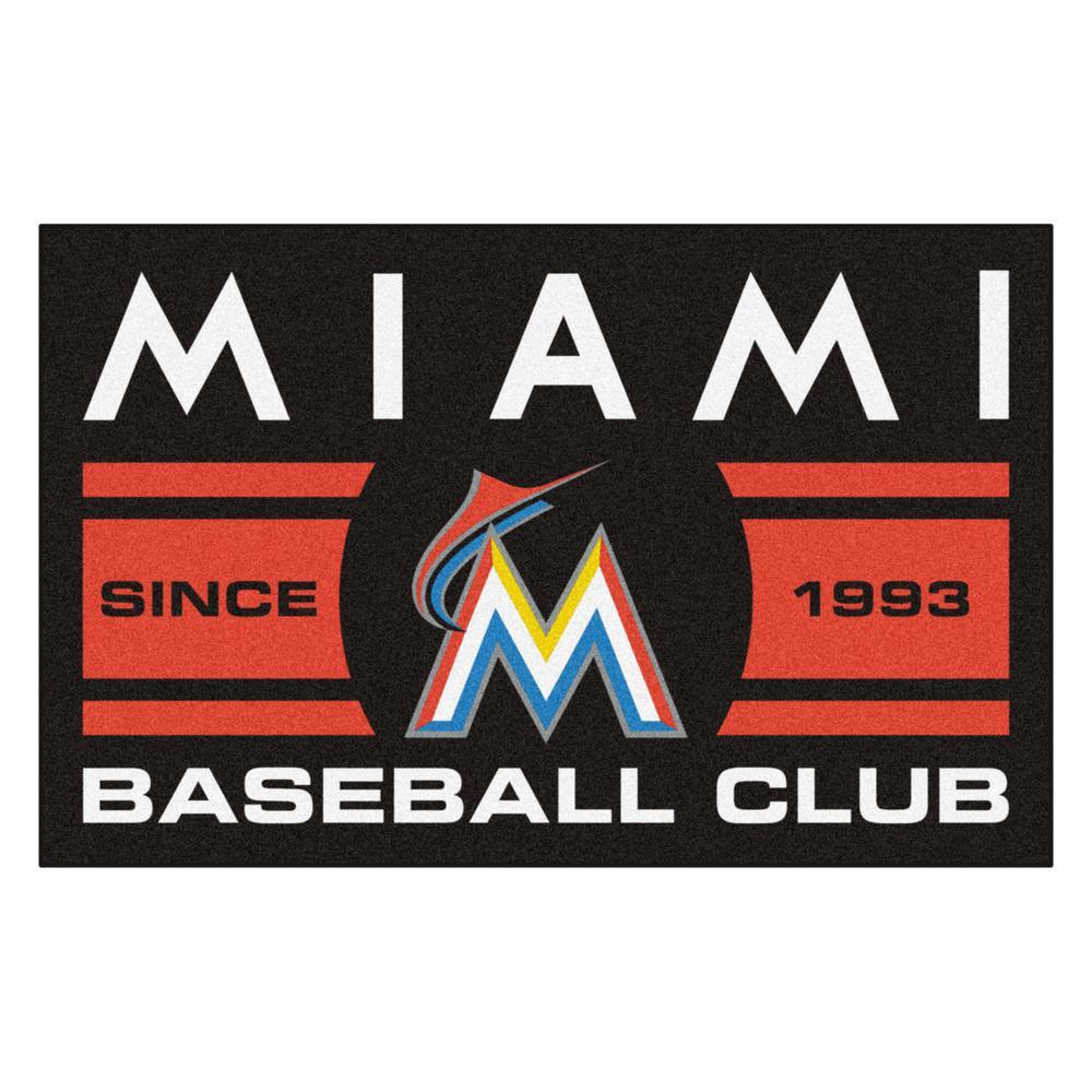 b1e277f06 FANMATS MLB Florida Marlins Black 2 ft. x 3 ft. Area Rug-18473 - The ...