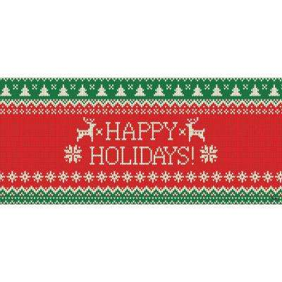 7 ft. x 16 ft. Ugly Christmas Sweater Happy Holidays-Christmas Garage Door Decor Mural for Double Car Garage