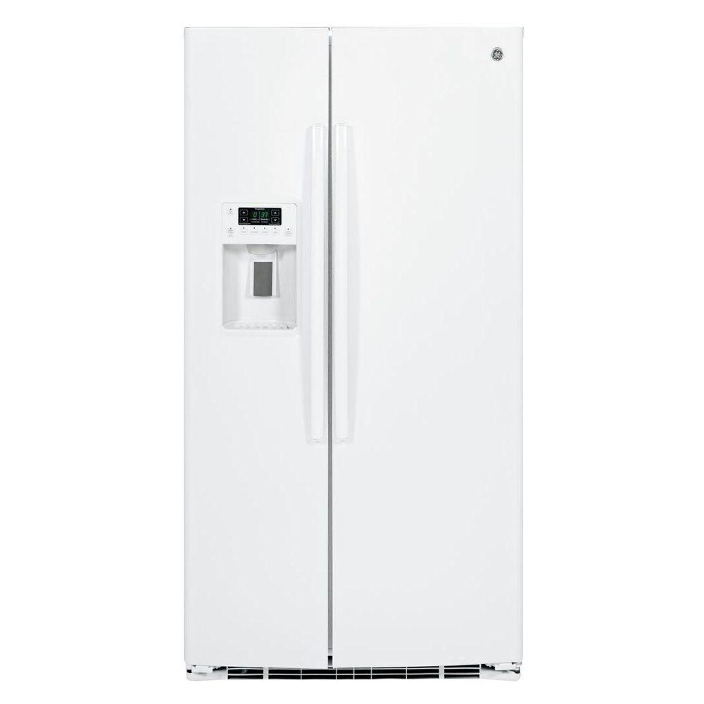 GE 25.9 cu. ft. Side by Side Refrigerator in White