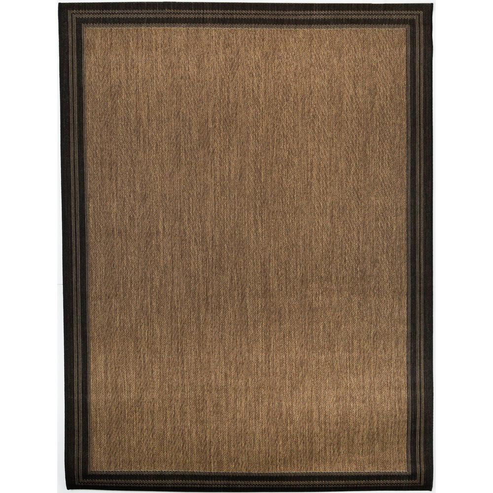 Hampton Bay Border Black Brown 7 ft. 10 in. x 9 ft. 10 in. Indoor/Outdoor Area Rug
