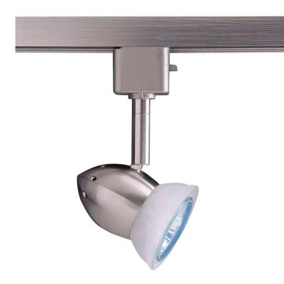 Series 3 Line-Voltage GU-10 Satin Nickel Track Lighting Fixture with Faux Alabaster Glass Shade