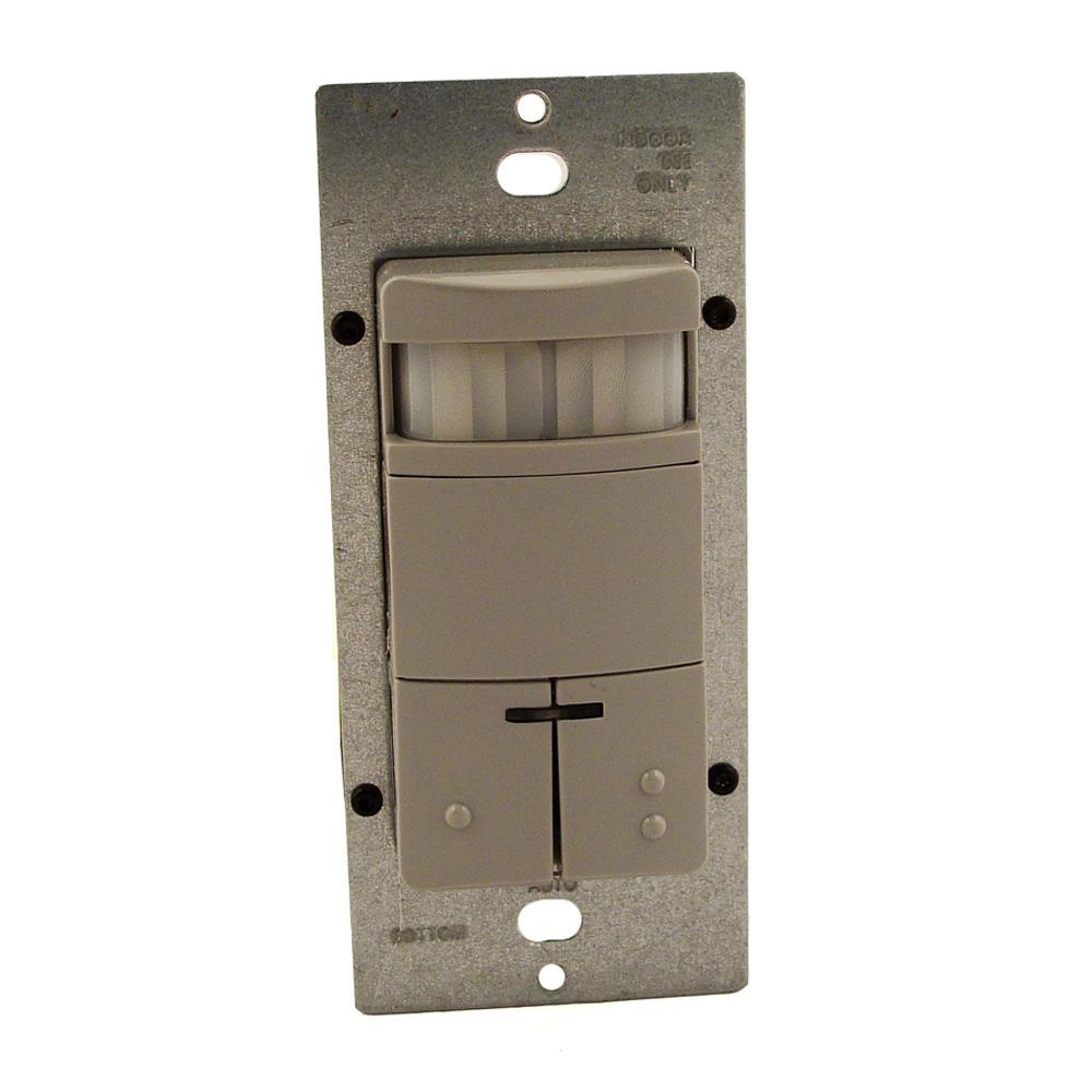 Decora Commercial Grade Passive Infrared Single-Pole Dual Relay 2100 sq. ft. 180-Degree Occupancy Sensor, Gray