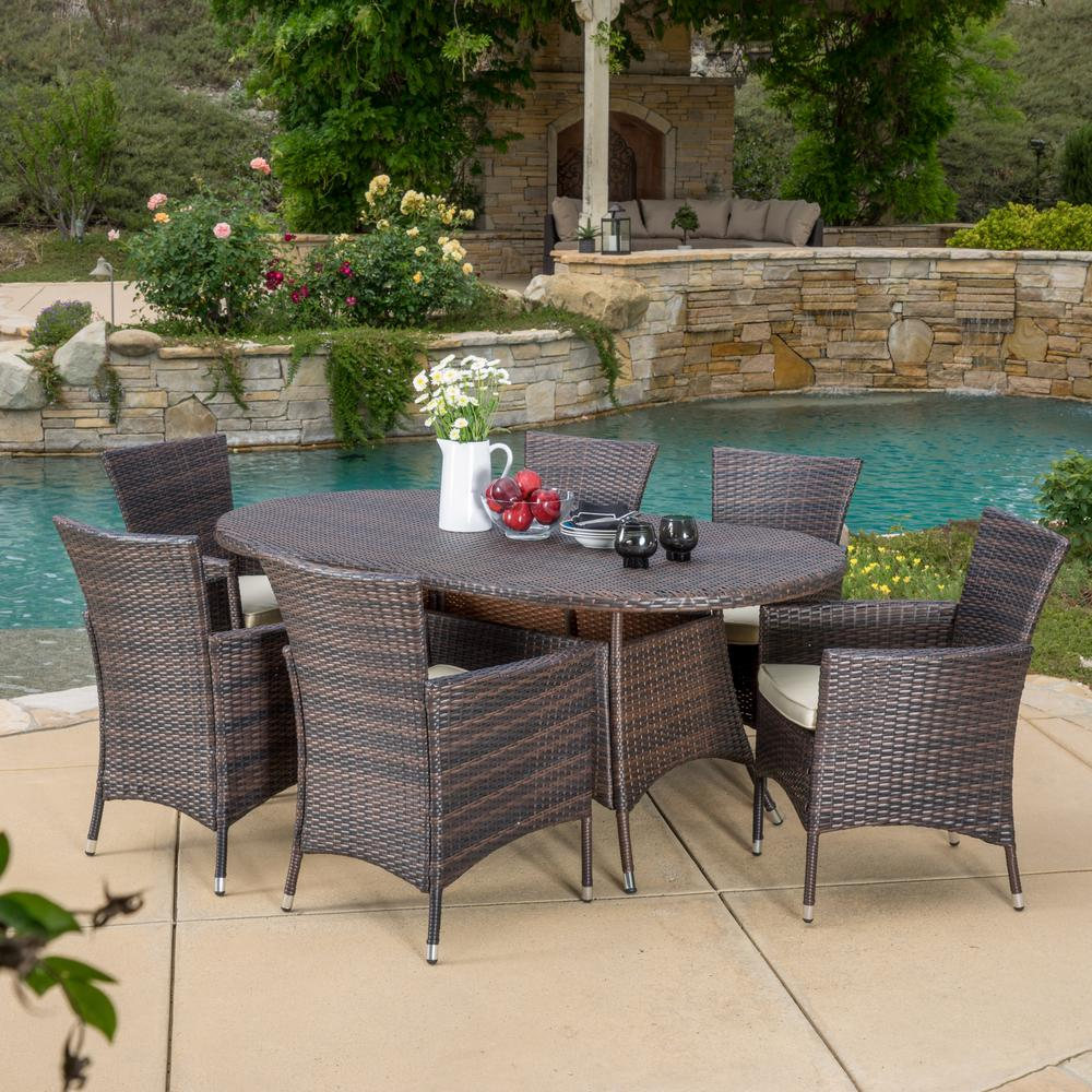 Noble House Dana Multi Brown 7 Piece Wicker Outdoor Dining