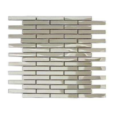 Ariya/02, Interlocking 3 in. x 12 in. x 8 mm Shiny Metal Mesh-Mounted Mosaic Tile Sample