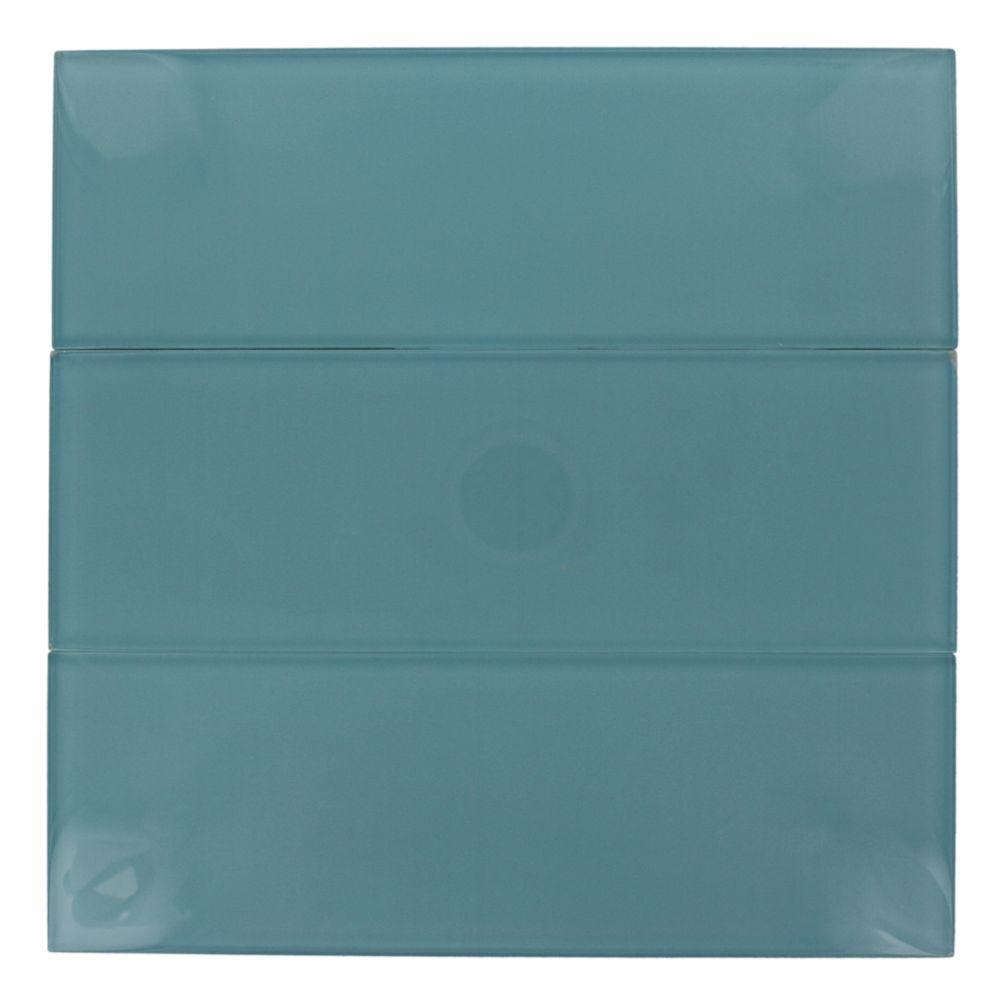 Splashback Tile Contempo 4 In X 12 In X 8 Mm Turquoise