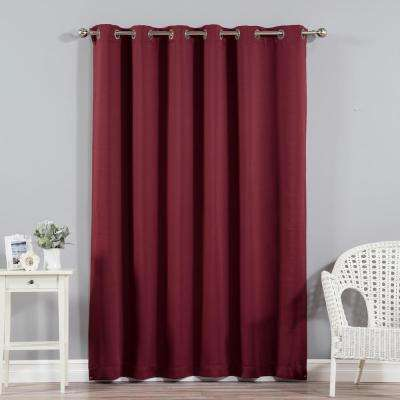 Wide Width Basic Silver 80 in W. x 96 in. L Grommet Blackout Curtain in Burgundy