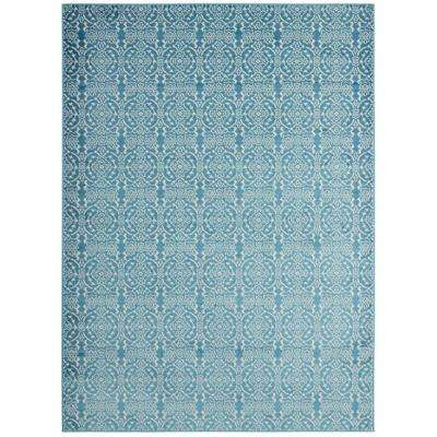 Alpina Collection Blue and Ivory 5 ft. 3 in. x 7 ft. 3 in. Floral Damask Area Rug