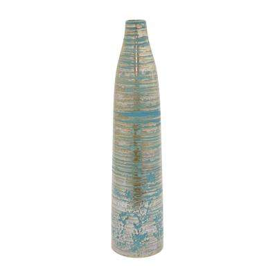 Decorative Gold and Blue Ceramic Vase