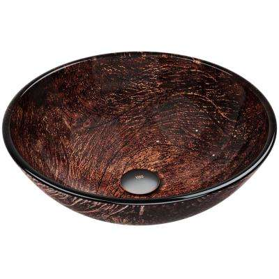 Kenyan Handmade Countertop Glass Round Vessel Bathroom Sink in Gold and Brown Fusion