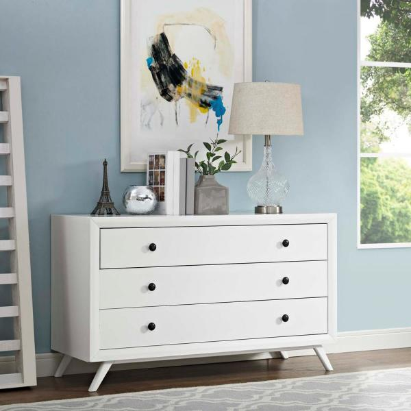 MODWAY Tracy 3-Drawer White Wood Dresser MOD-5241-WHI