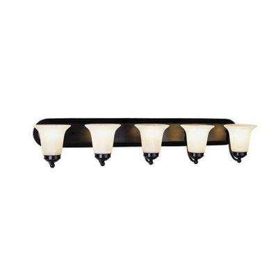 Cabernet Collection 5-Light Brushed Nickel Bath Bar Light with White Marbleized Shade