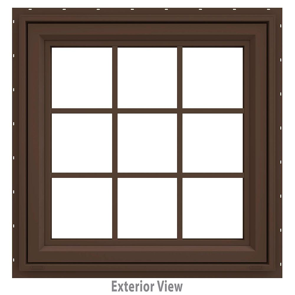 JELD-WEN 35.5 in. x 35.5 in. V-4500 Series Brown Painted Vinyl Awning Window with Colonial Grids/Grilles