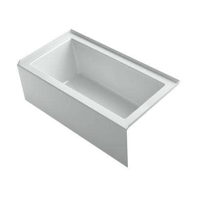 Underscore 60 in. Rectangular Apron Front Right Drain Bathtub  in Ice Grey