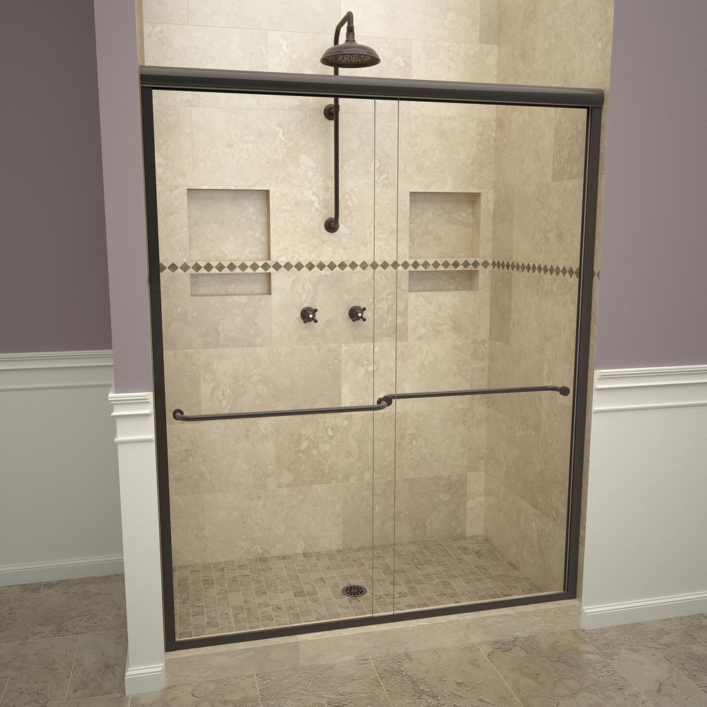 Delta 48 In Sliding Shower Door Glass Panels In Clear 1