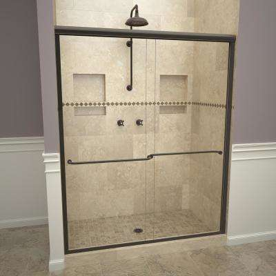 1200 Series 47 in. W x 70 in. H Semi-Frameless Sliding Shower Doors in Oil Rubbed Bronze with Towel Bar and Clear Glass