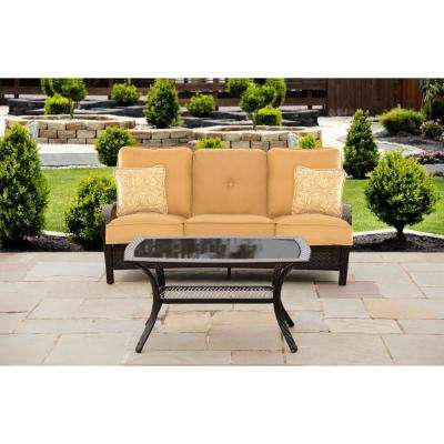 Hanover Orleans 2-Piece Steel Patio Conversation Set with Sahara Sand Cushions