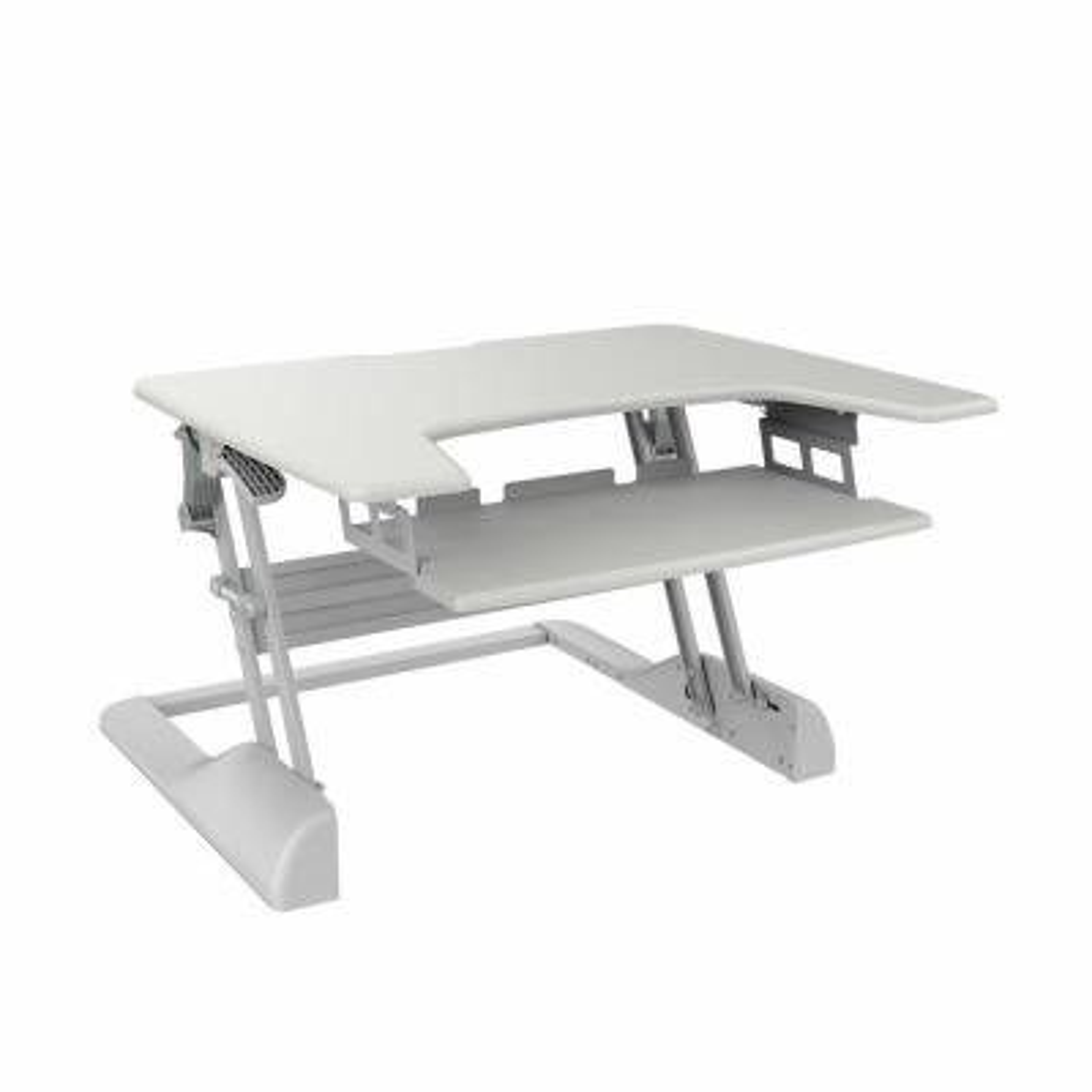 Sit-Stand White Desktop Workstation Stand