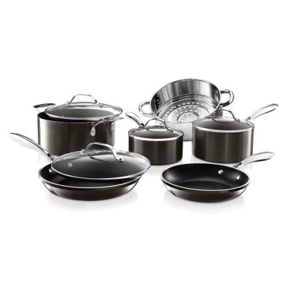10-Piece Cast Textured Aluminum Ceramic Nonstick Cookware Set in Platinum
