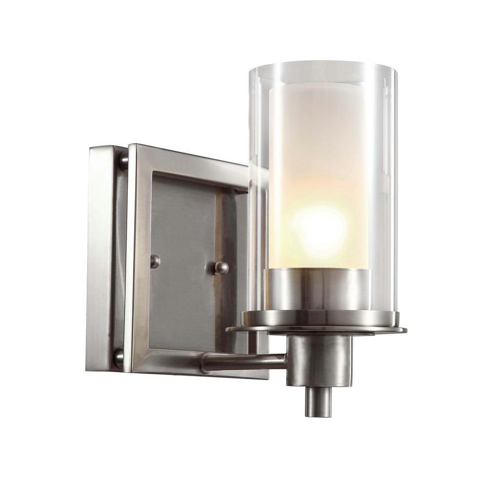 Cabernet Collection 1 Light Brushed Nickel Sconce With Frosted Inner Glass Shade