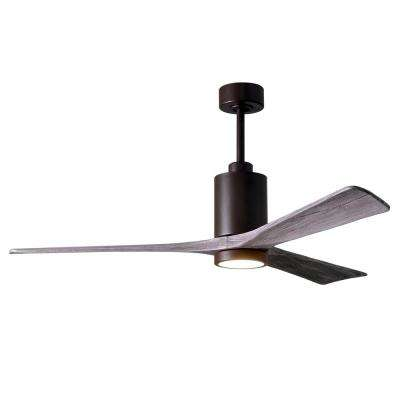 Patricia 60 in. LED Indoor/Outdoor Damp Textured Bronze Ceiling Fan with Light with Remote Control and Wall Control