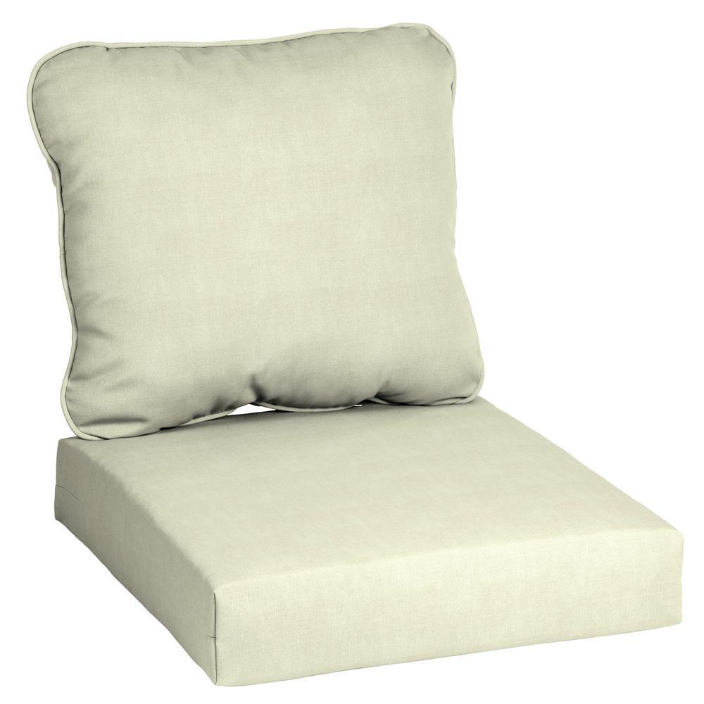 Hampton Bay Cushionguard Oatmeal Deep Seating Outdoor Lounge Chair Cushion