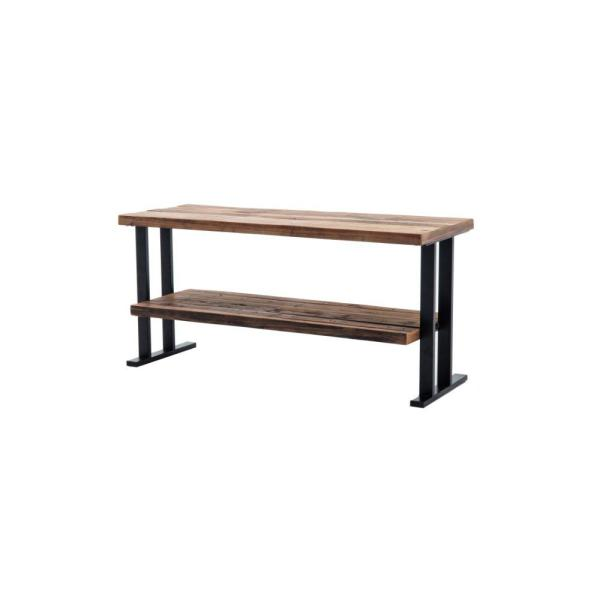 50 in. W Brown and Black Wood and Metal TV Stand with a Bottom Shelf Fits 60 in. TV
