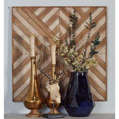 """32 in. x 32 in. """"Overlapping Chevron Patterns"""" Framed Wooden Wall Art"""
