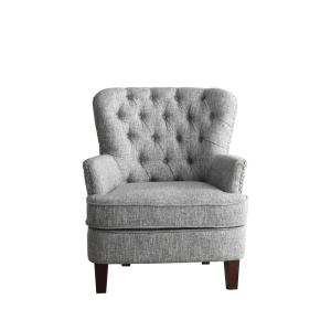 Awesome Gray White Color Button Tufted Accent Chair With Nailhead Squirreltailoven Fun Painted Chair Ideas Images Squirreltailovenorg
