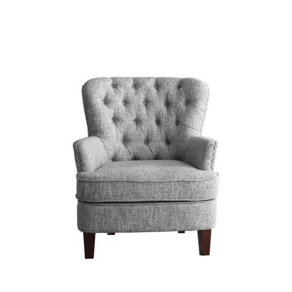 Gray White Color Button Tufted Accent Chair with Nailhead 92005-16GW