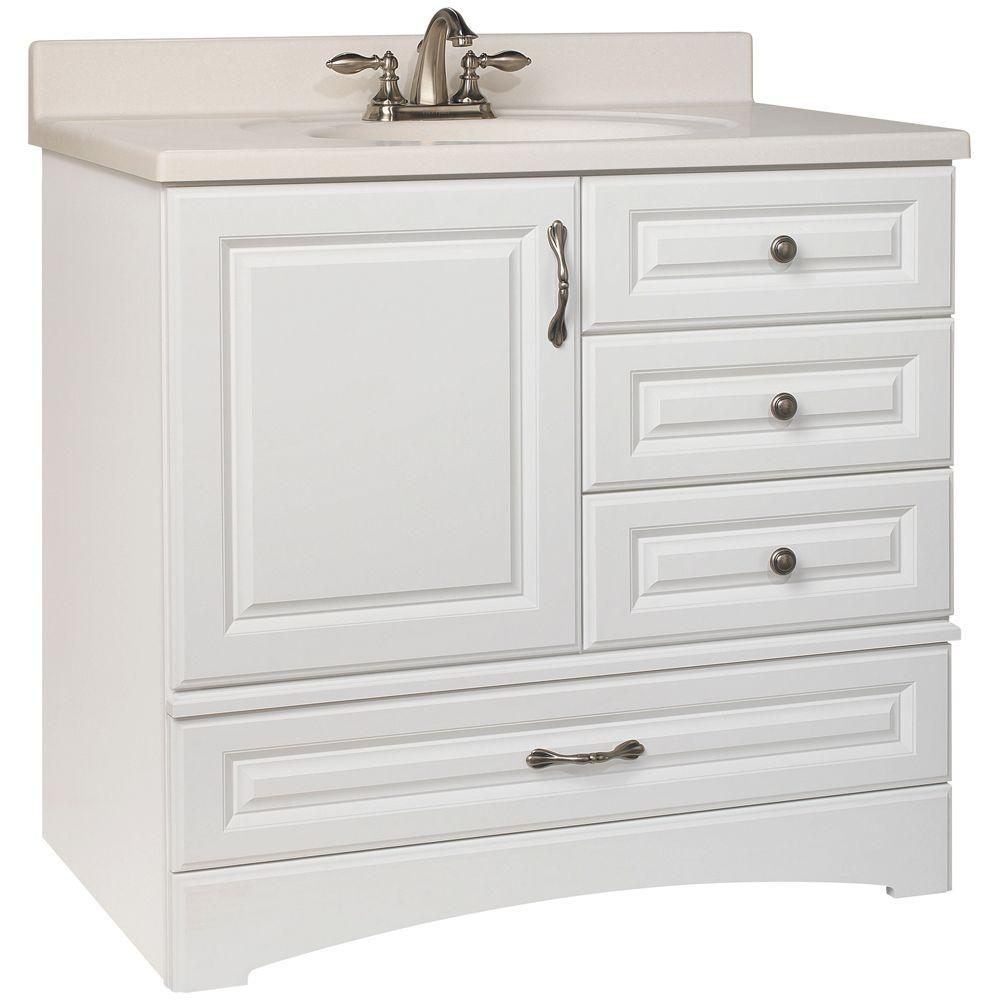 Attractive Glacier Bay Danville 36 In. W X 21 In. D X 33.5 In. H Bath Vanity Cabinet  Only In White BDWH36D   The Home Depot