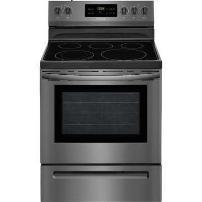 30 in. 5.3 cu. ft. Electric Range with Self-Cleaning Oven in Black Stainless Steel