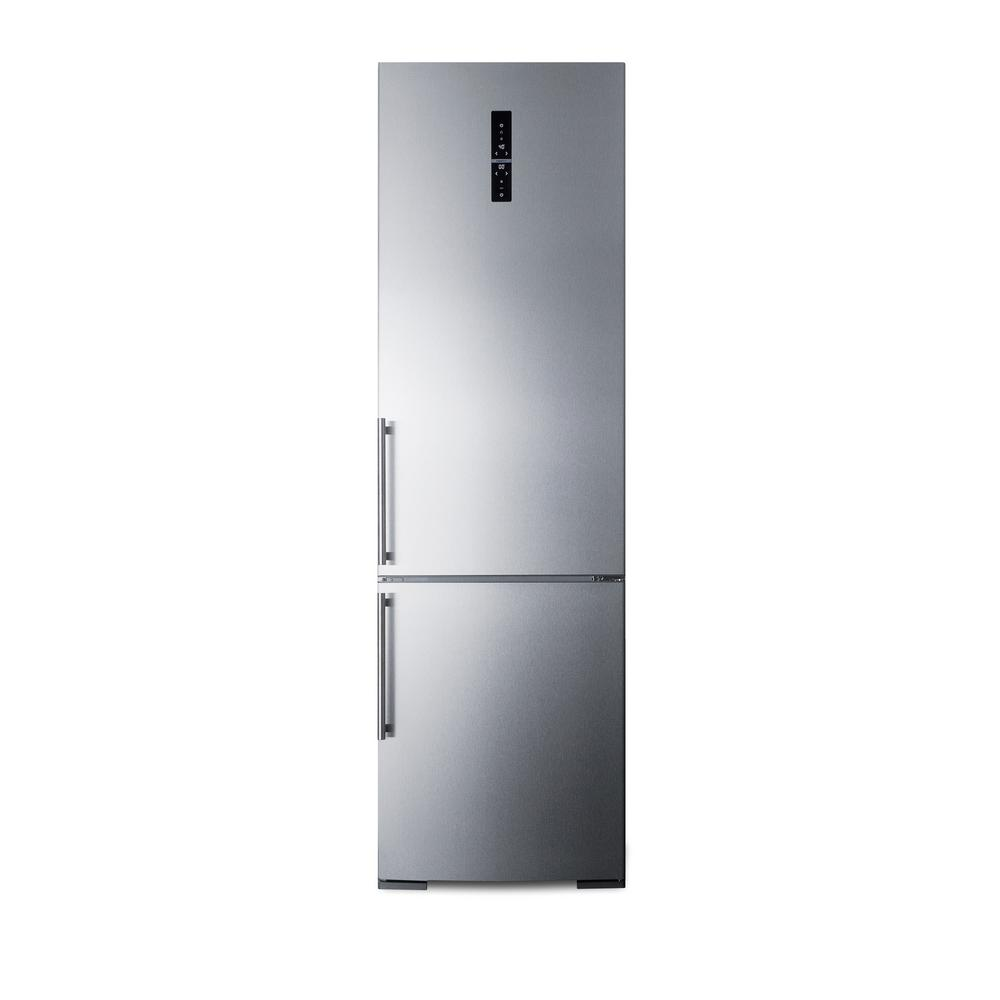 Summit Appliance 24 in. W 12.8 cu. ft. Bottom Freezer Refrigerator in Stainless Steel, Counter Depth