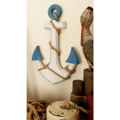 Litton Lane 17 in. x 12 in. MDF Anchor Wall Decor, White