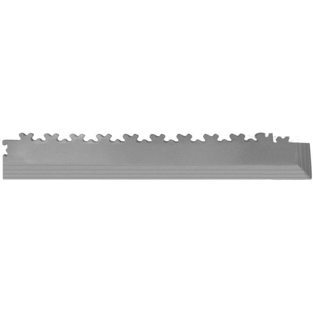 IT-tile 23 in. x 2-1/2 in. Diamond Plate Light Gray PVC Tapered Interlocking Multi-Purpose Flooring Tile Corners (4-Pack)