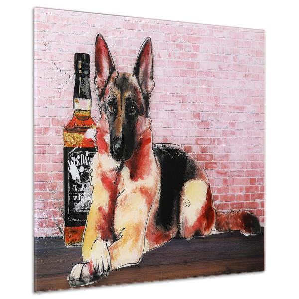 Dog Set Glass Wall Art Printed on Frameless Free Floating Tempered Glass Panel