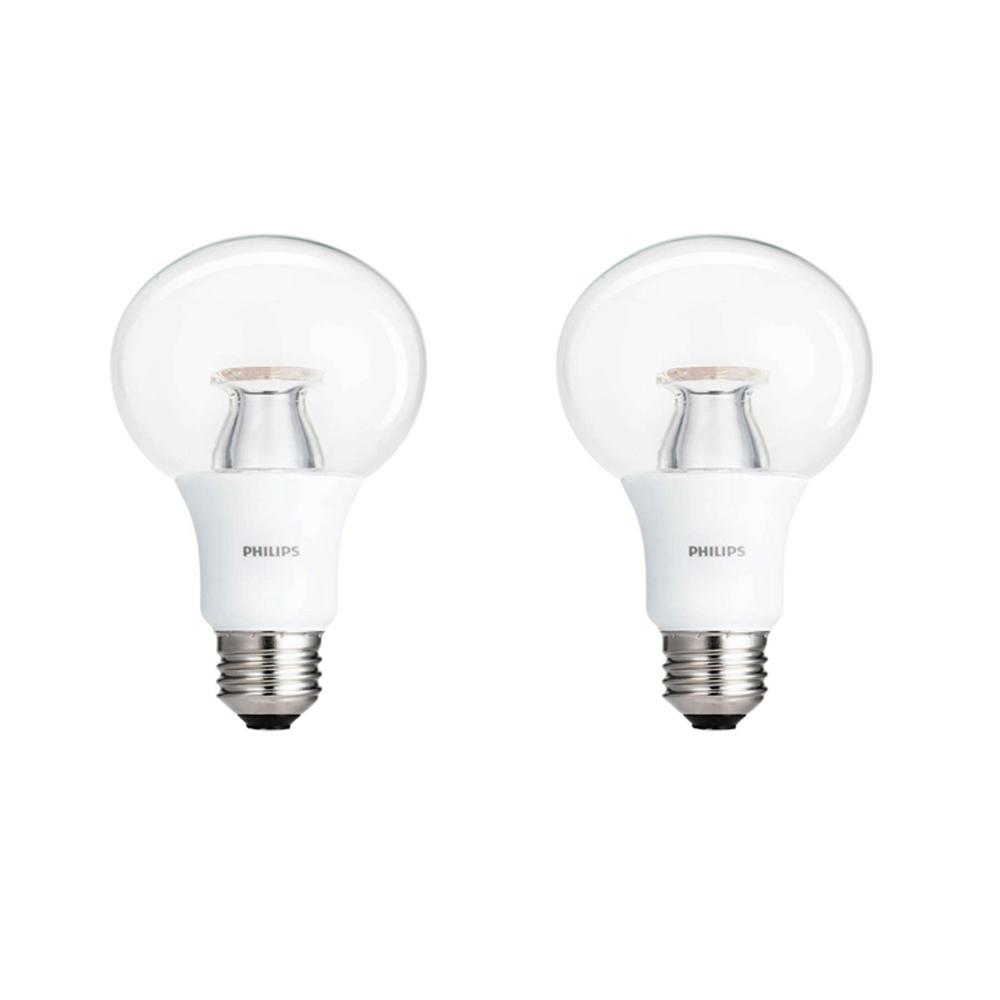 60-Watt Equivalent A19 LED Light Bulb Soft White Clear (2-Pack)