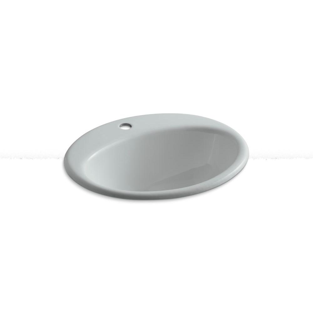 KOHLER Farmington Drop-In Cast Iron Bathroom Sink in Ice Gray with Overflow Drain