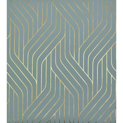 56.9 sq. ft. Blue/Gold Ebb And Flow Wallpaper