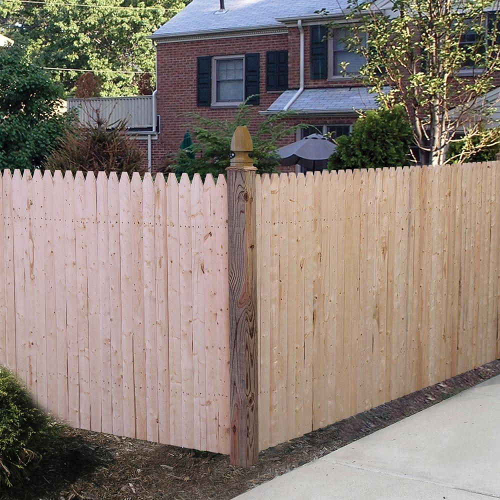 35 Ft H X 8 Ft W Natural 4 In Gothic Stockade Fence Panel